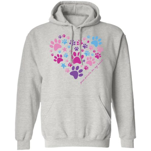 Paw Prints On My Heart Grey Pullover Hoodie