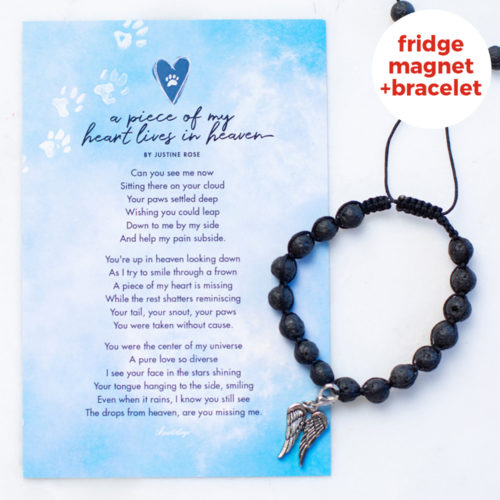 Special Offer! A Piece Of My Heart Lives In Heaven Memorial Lava Bead Bracelet & Magnet Gift Set
