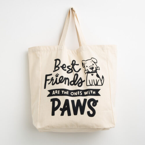 Best Friends Are The Ones With Paws Large Canvas Tote ❤️ Deal 30% Off!