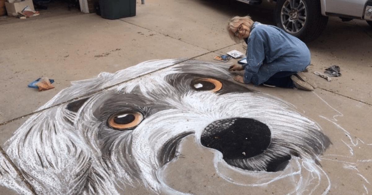 Teacher Creates Beautiful Dog Chalk Art During Quarantine