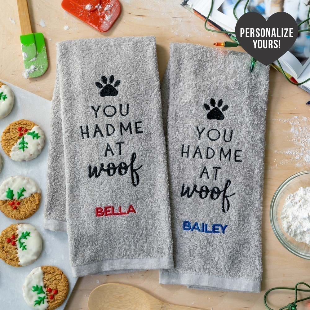 You Had Me At Woof Embroidered Customizable Kitchen Towels (Set of 2) - Deal 30% off