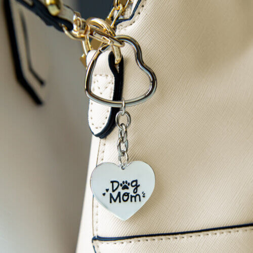 Dog Mom Key To My Heart Purse Charm Keychain