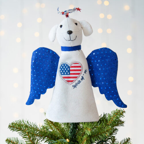 Patriotic Christmas Pup Artisan Angel Tree Topper - Limited Time Offer $14.99 Save 50% while supplies last !
