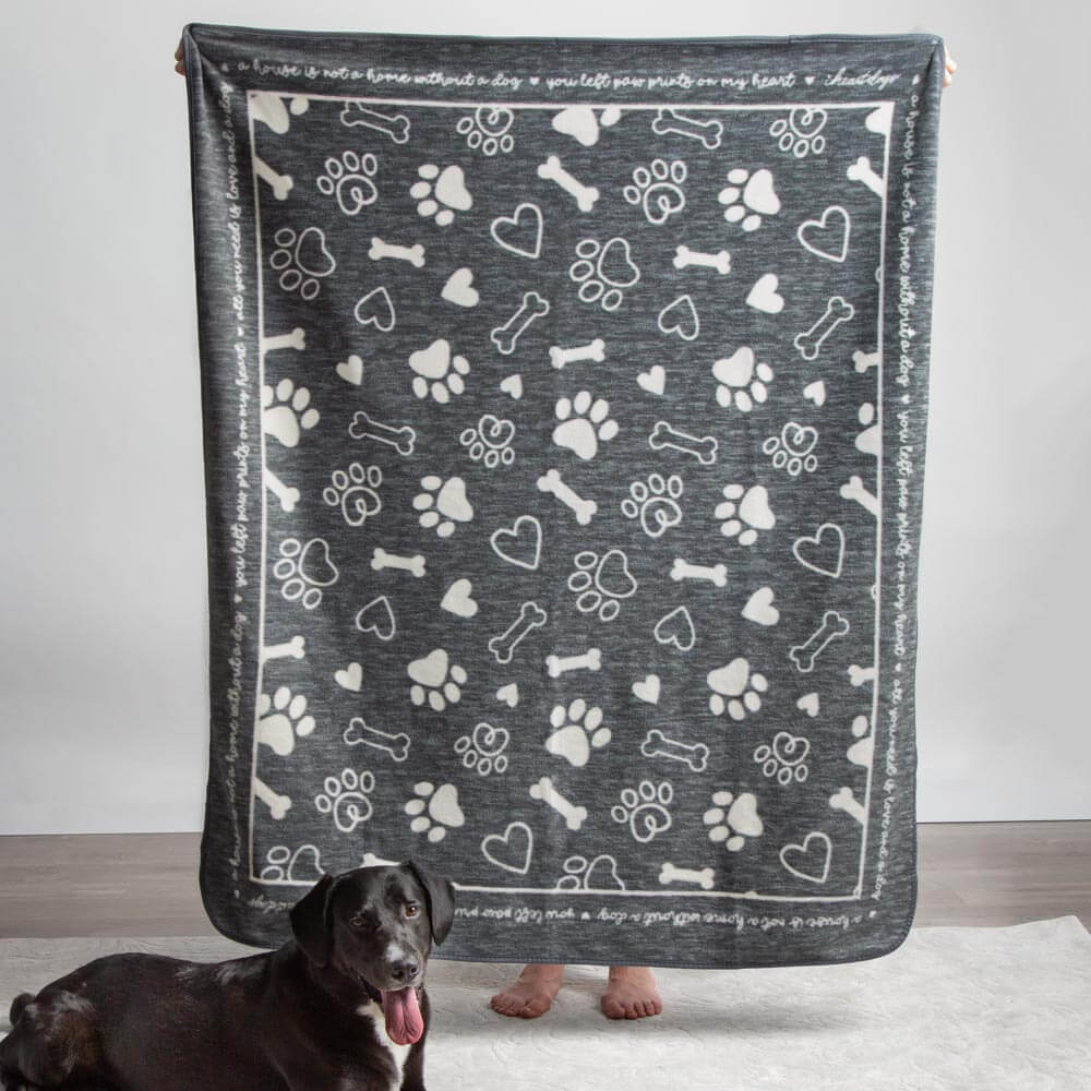 Image of Give Warmth™️ Buy One Give One Fleece Blanket: Paw Prints On My Heart 🎄 Deal 43% Off!