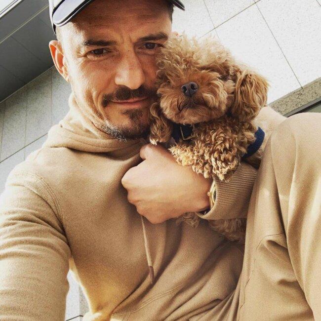 Orlando Bloom Hugging Dog