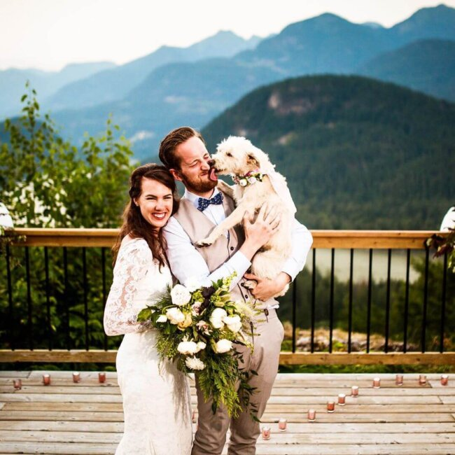 Married family with dog