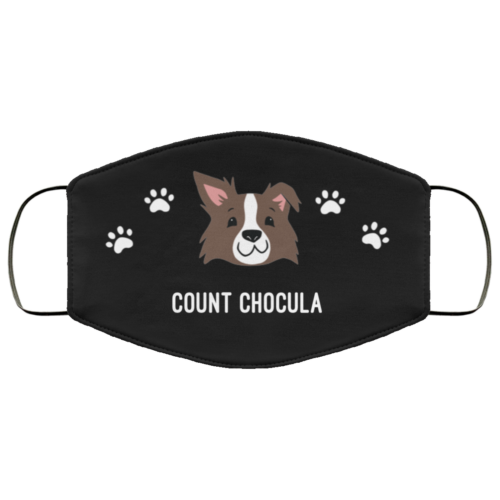 Brown Border Collie Personalized Protective Face Covering - Black