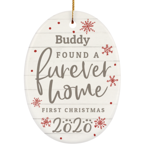 Furever Home First Christmas 2020 Personalized Oval Ornament