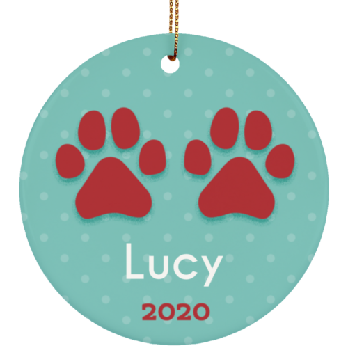 Paws 2020 Personalized Circle Ornament