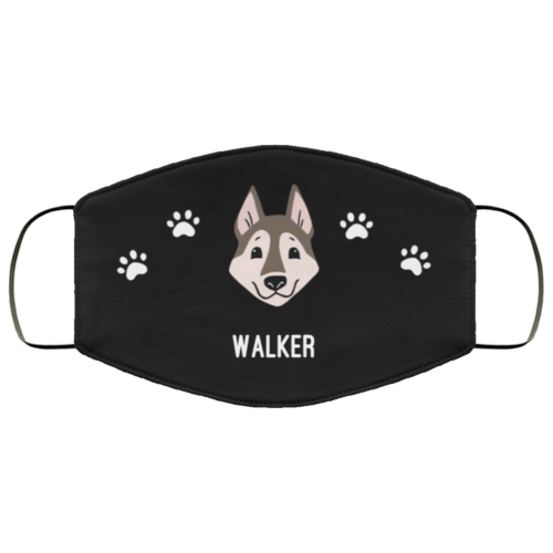 Red Huskie Personalized Protective Face Covering - Black