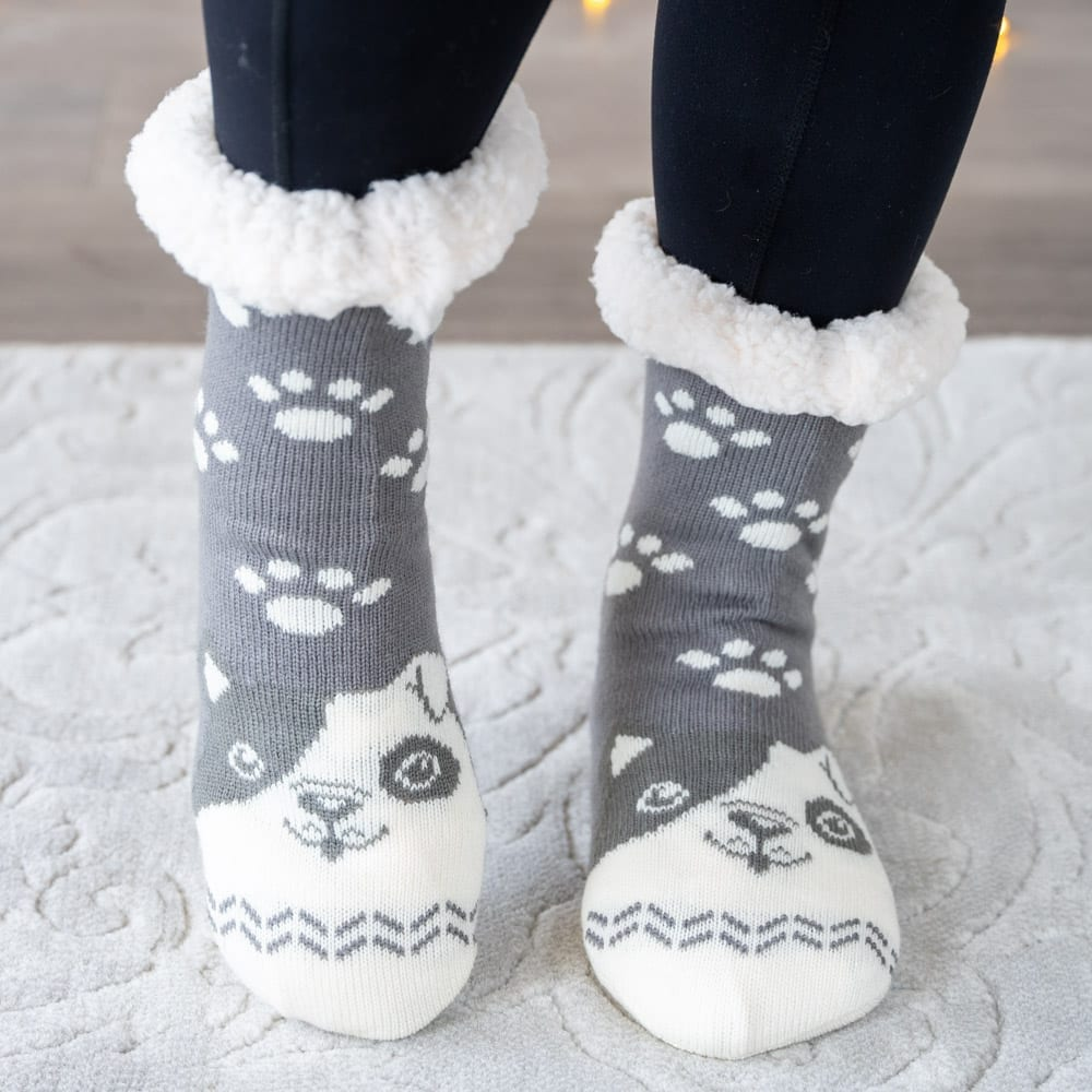 Snuggle Pups Warm 'n Cozy Slipper Socks- Grey