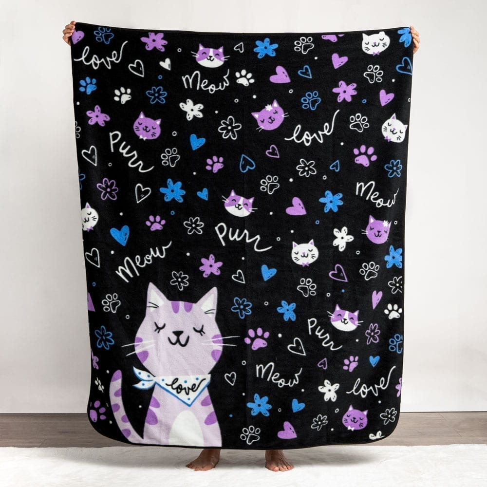Give Warmth™️  Buy One Give One Fleece Blanket: Meow Purrr Kitty 💗