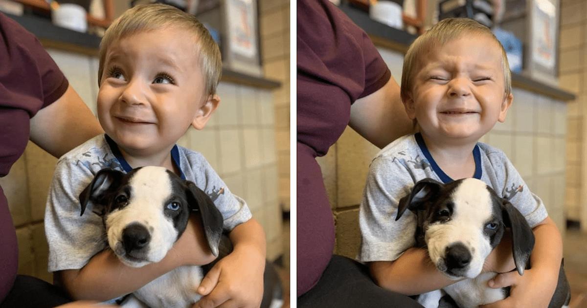 Cleft Lip Boy and Puppy