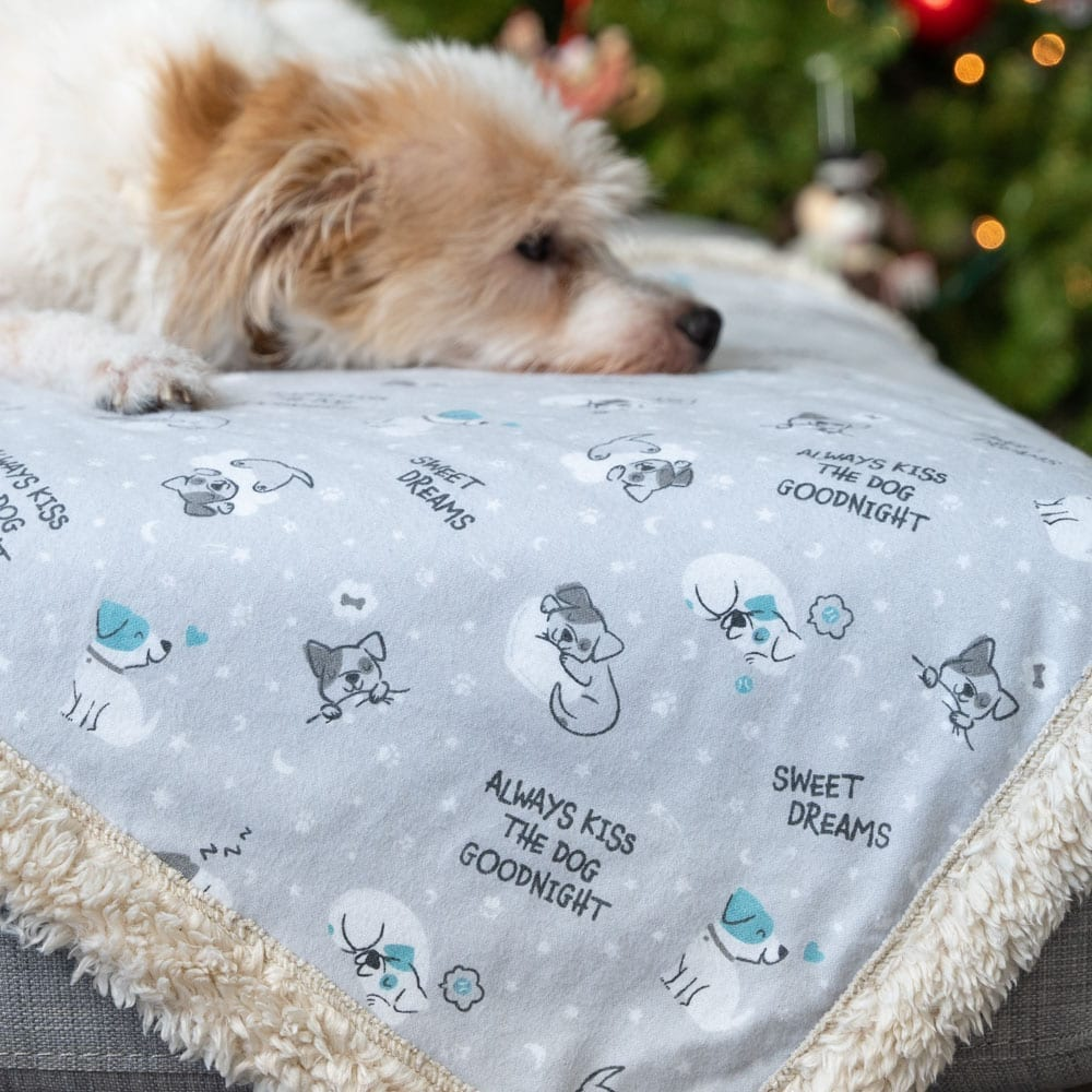 Image of Always Kiss the Dog Goodnight 🐶  Flannel Sherpa Dog Blanket 🎄 Deal 40% Off!