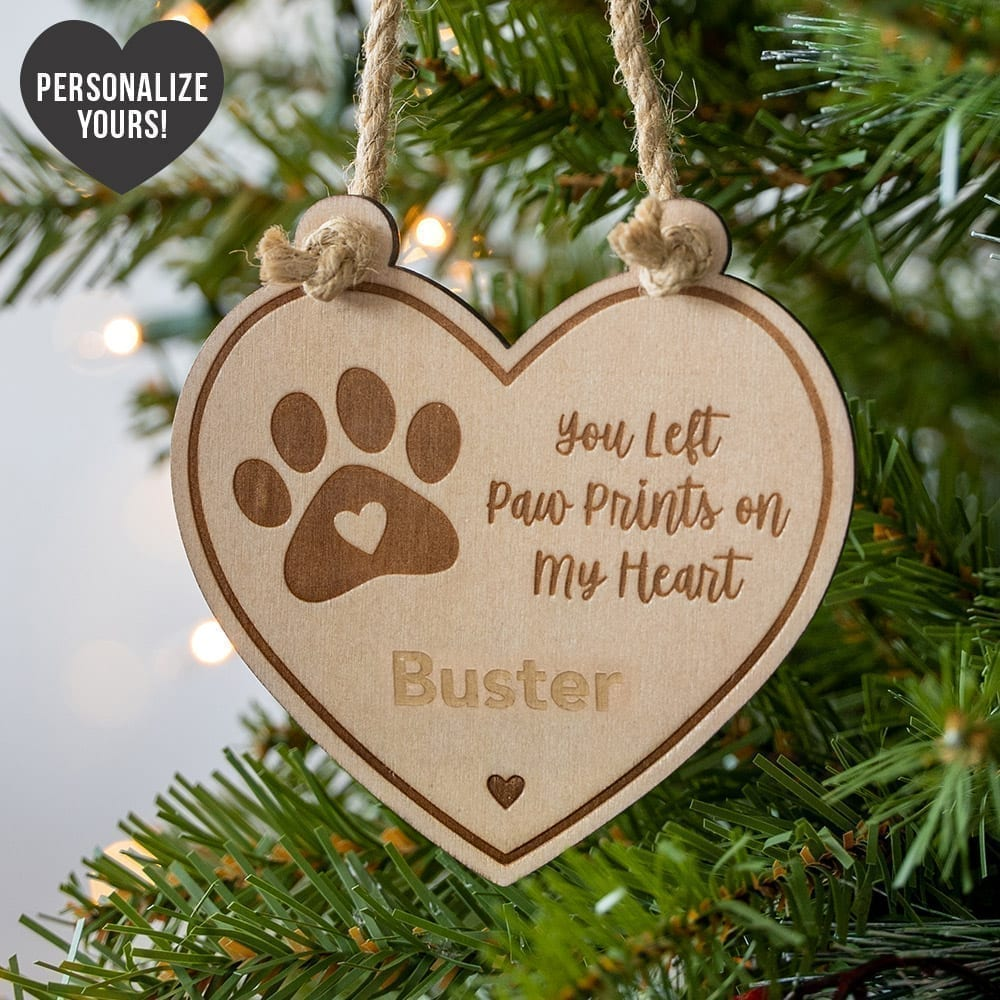 Image of You Left Paw Prints On My Heart Personalized Ornament - 43% Off!