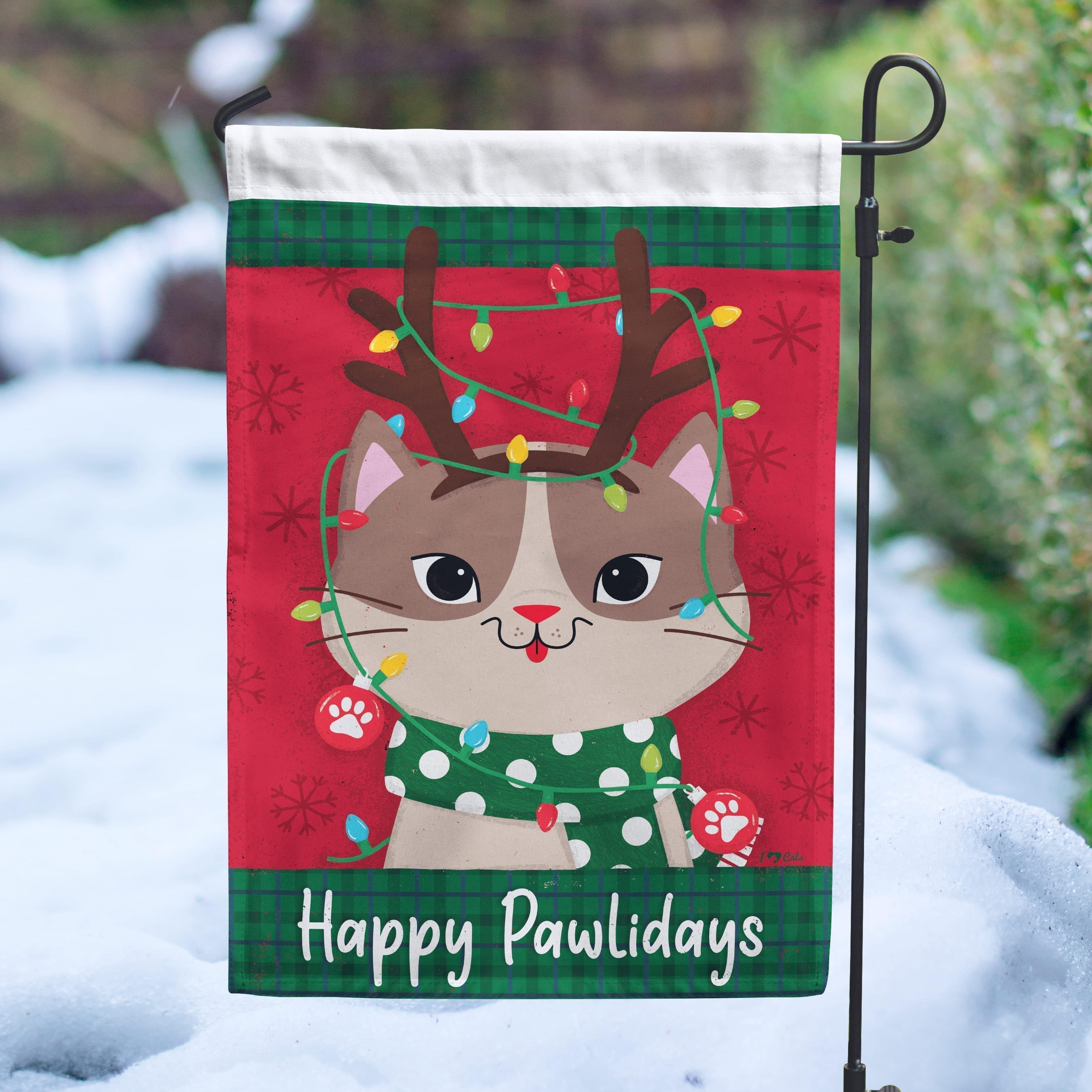 Happy Pawlidays Reindeer Kitty Garden Flag - Get 2 for $14.99!