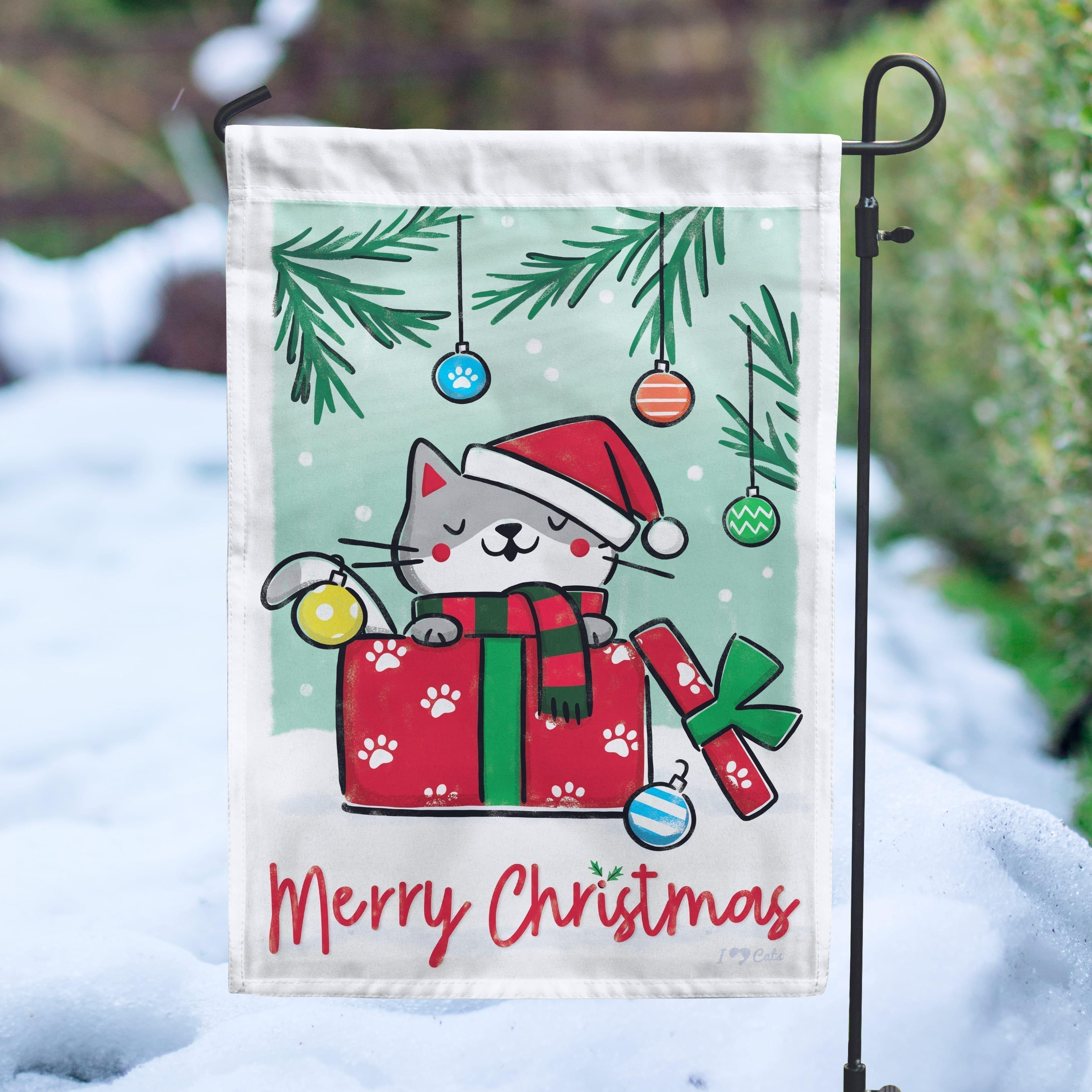 Merry Christmas Kitty Garden Flag - Get 2 for $14.99!