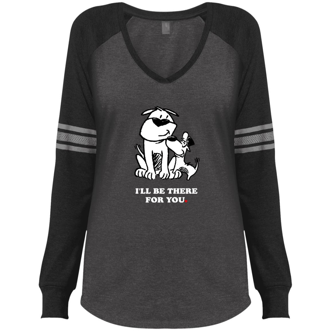 'I'll Be There For You'  💕 ResQ & Mischief Friends - Varsity V-Neck Long Sleeve 🐾  Deal 20% Off!