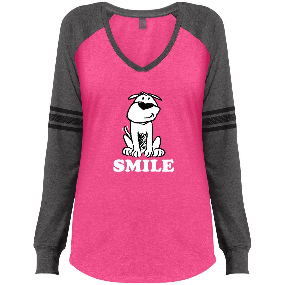 Smile ResQ-  Pink & Grey Varsity V-Neck Long Sleeve 🐾 Deal 20% Off!