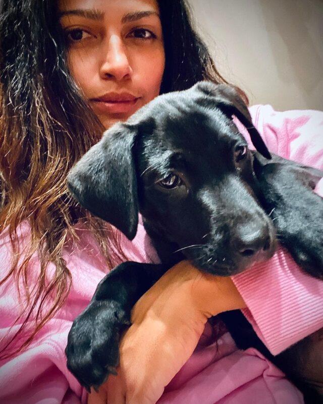 Camila Alves McConaughey Hugging Puppy