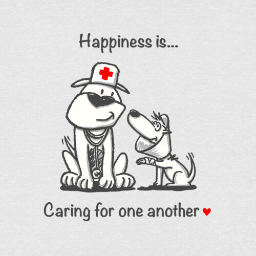 Happiness Is Caring For One Another Slouchy Tee Heather White