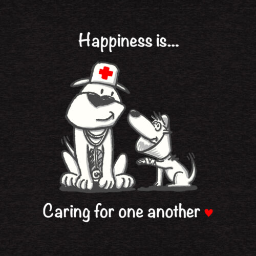 Happiness Is Caring For One Another Slouchy Tee Black