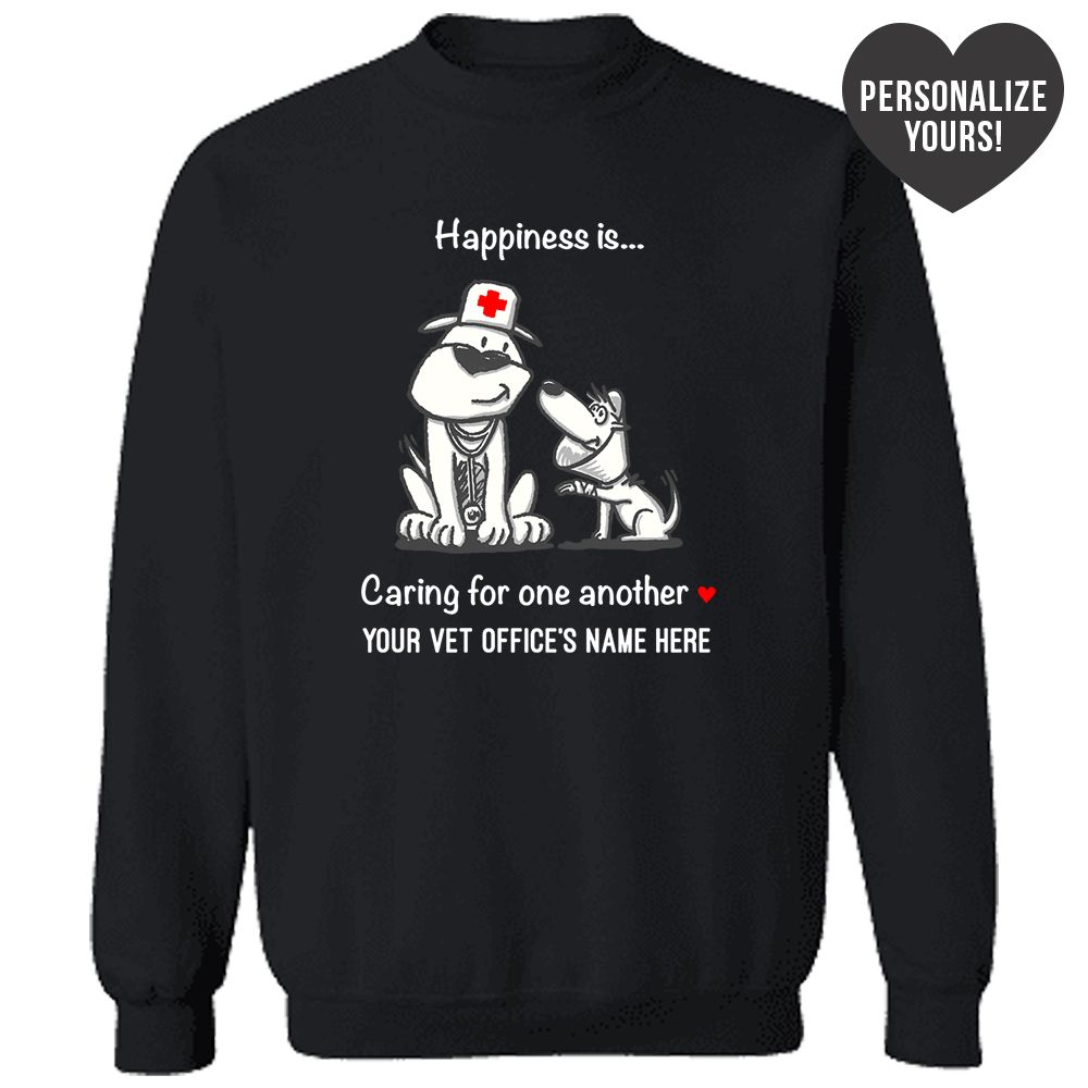 Happiness Is Caring For One Another Personalized Black Sweatshirt 🐾  Deal Up To 25% Off!