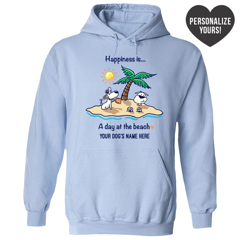Happiness Is A Day At The Beach Personalized Blue Pullover Hoodie 🐾  Deal Up To 25% Off!