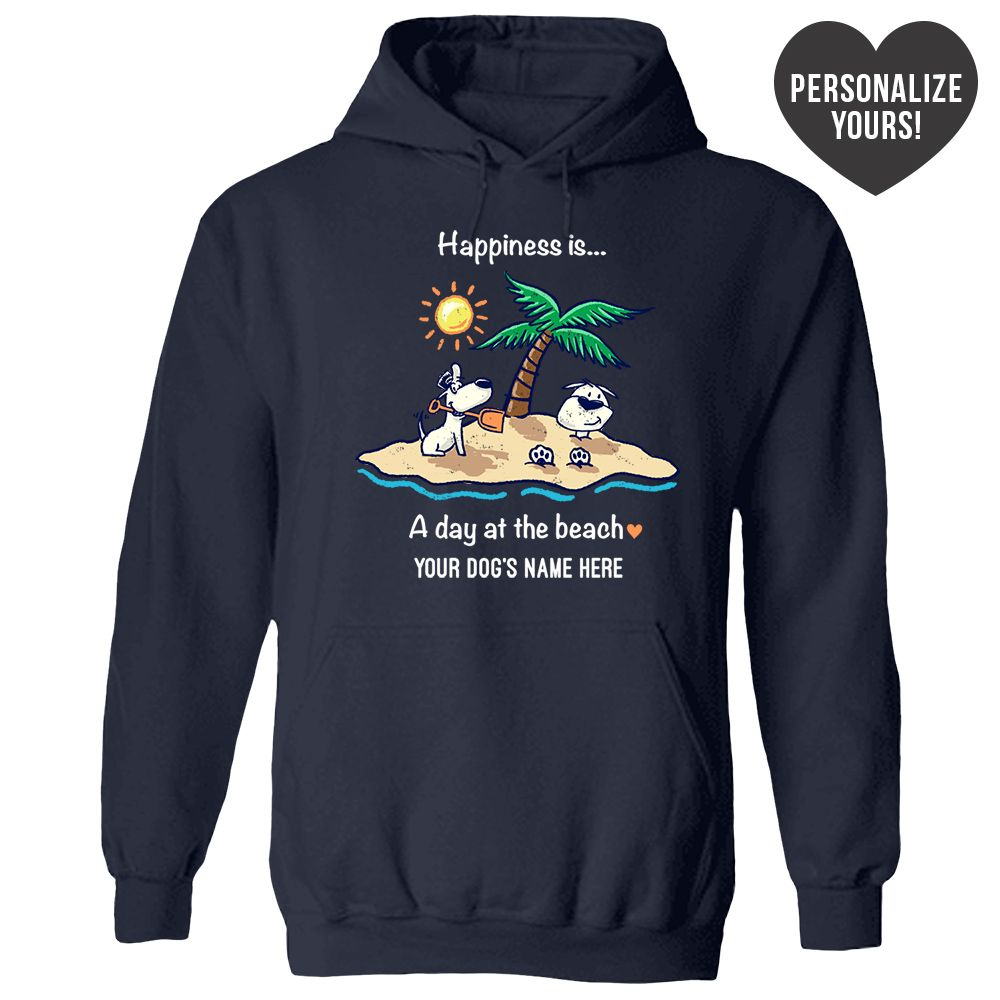 Happiness Is A Day At The Beach Personalized Navy Blue Pullover Hoodie 🐾  Deal Up To 25% Off!