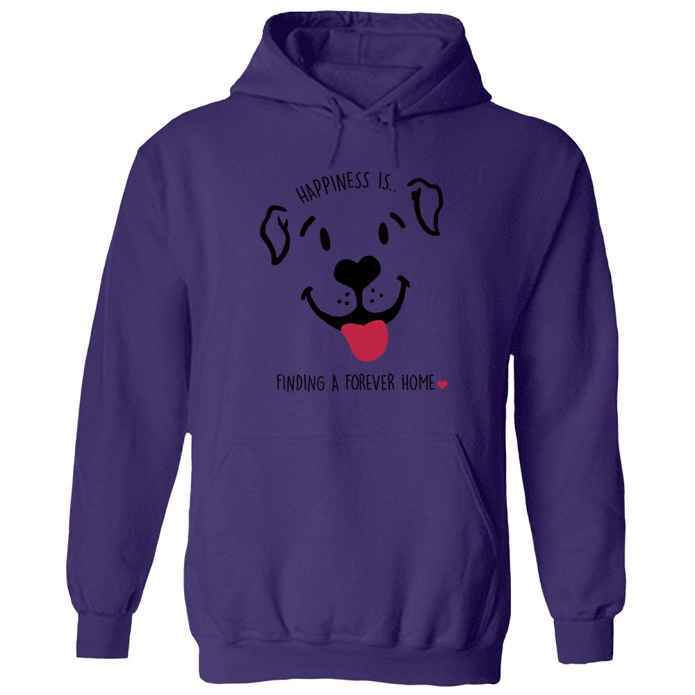 Happiness Is A Forever Home Purple Pullover Hoodie 🐾  Deal Up To 25% Off!
