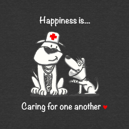 Happiness Is Caring For One Another Hoodie Varsity T-Shirt Heather Black