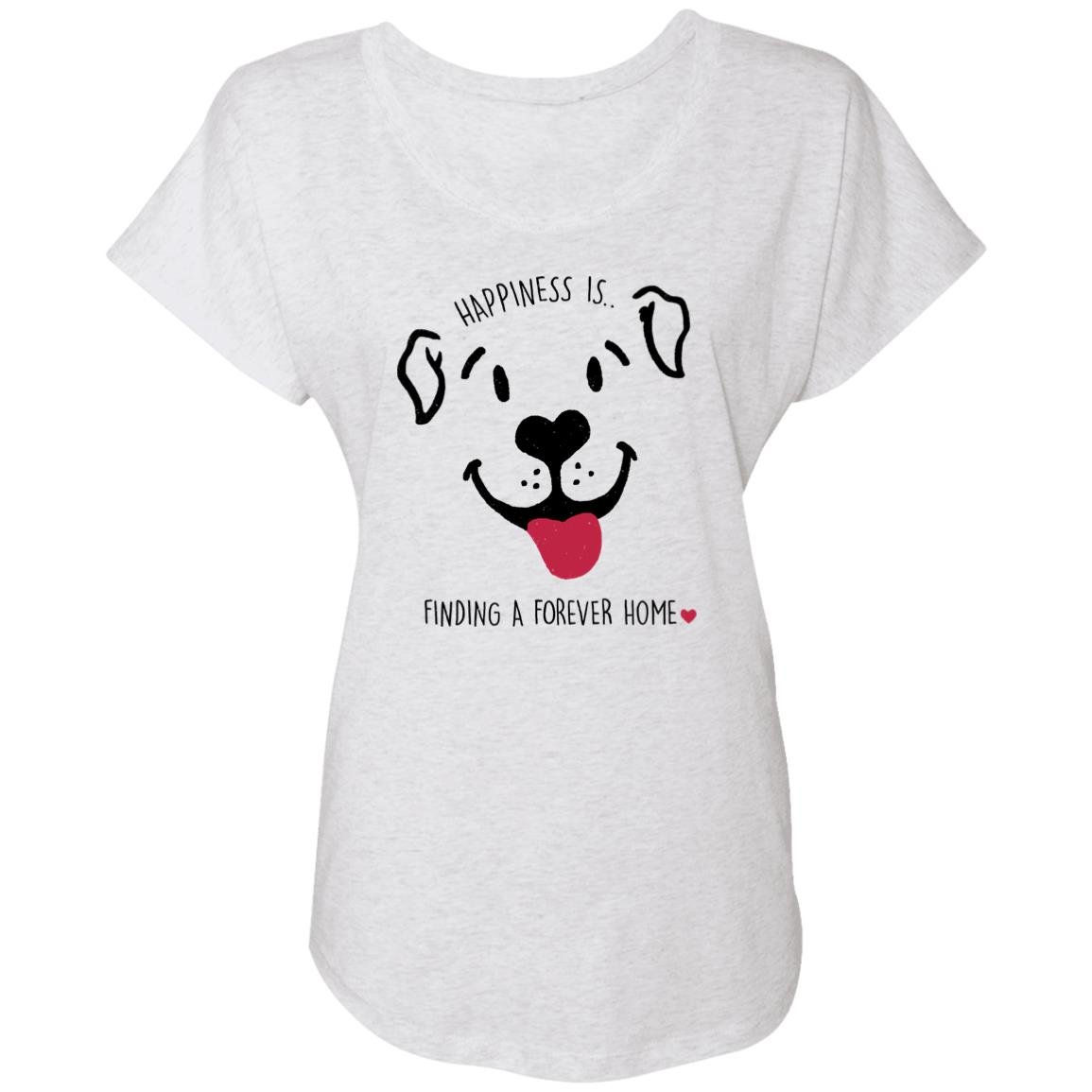 Happiness Is A Forever Home Heather White Slouchy Tee