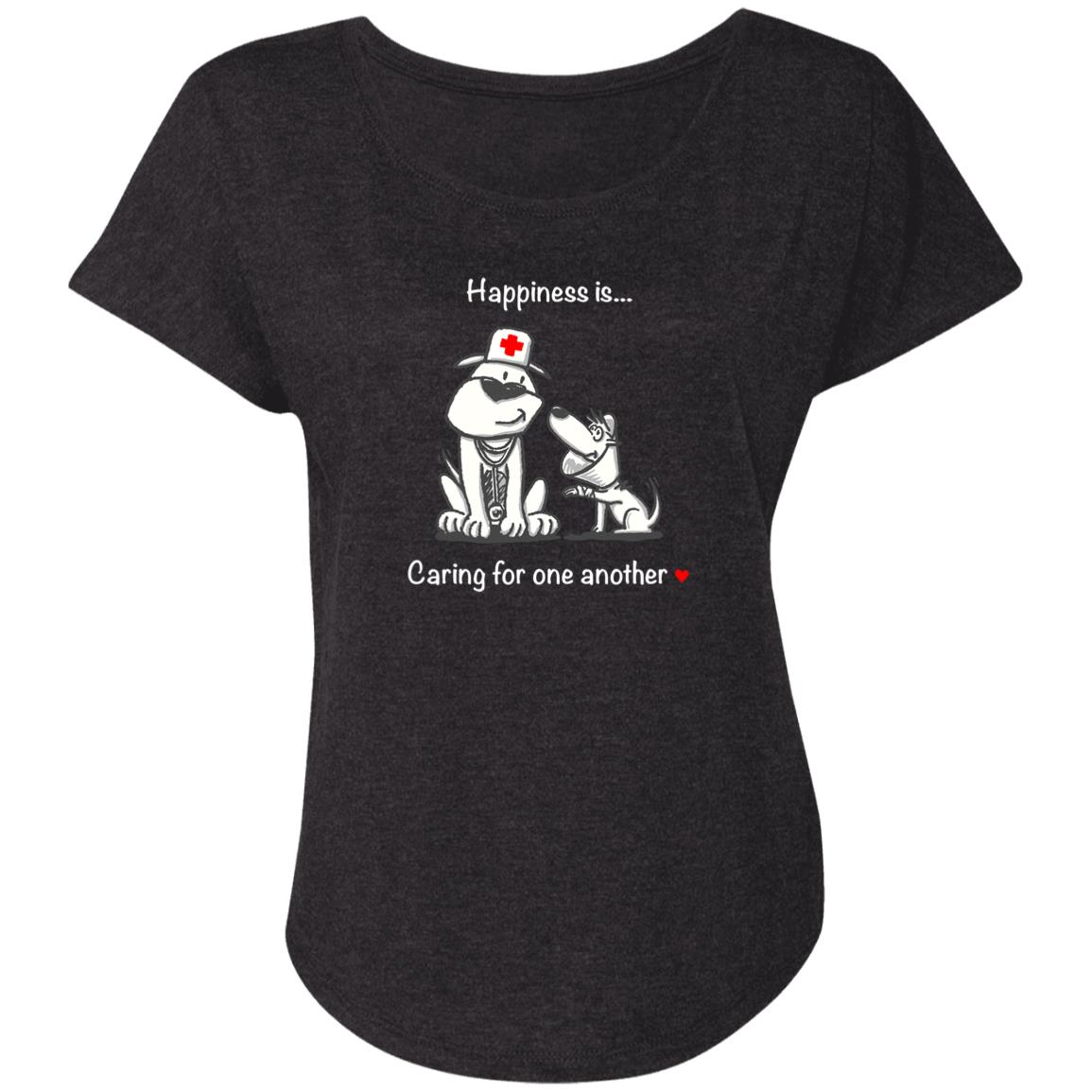 Happiness Is Caring For One Another Vintage Black Slouchy Tee