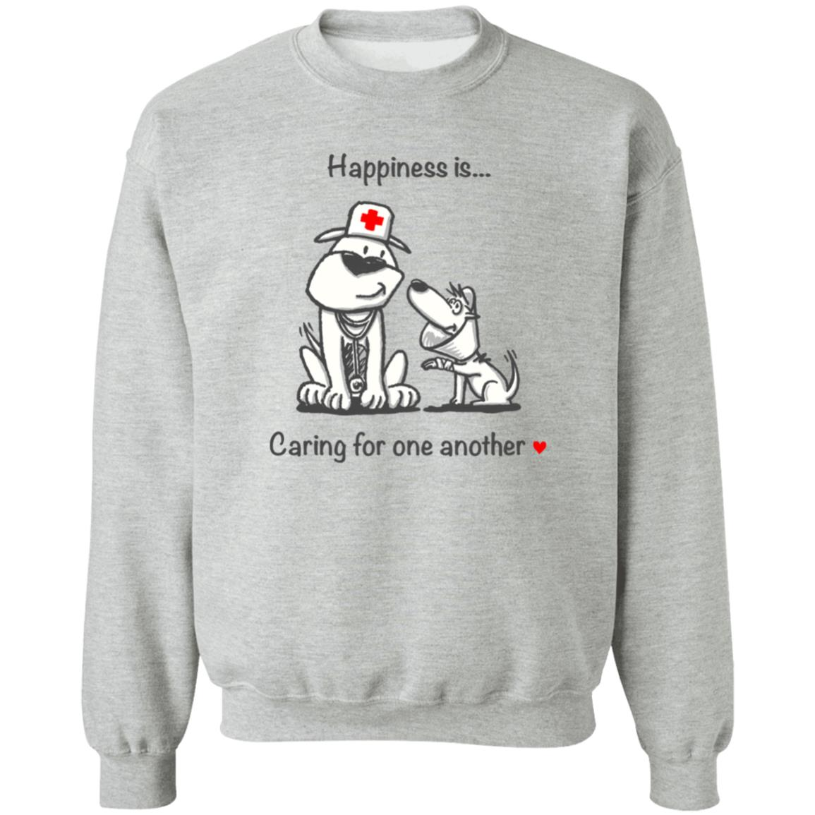 Happiness Is Caring For One Another Grey Sweatshirt 🐾  Deal Up To 25% Off!