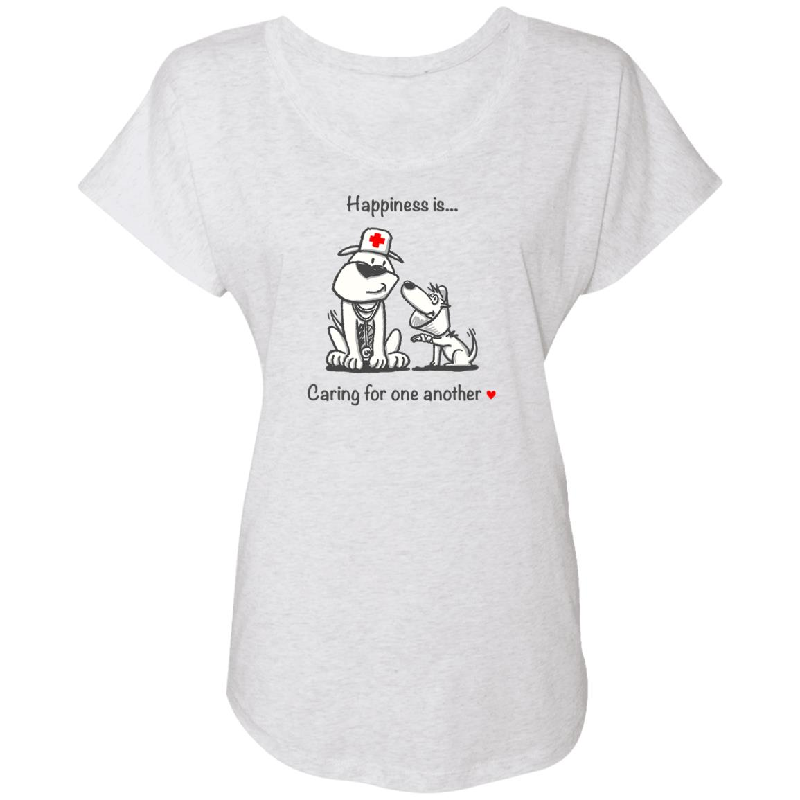 Happiness Is Caring For One Another Heather White Slouchy Tee