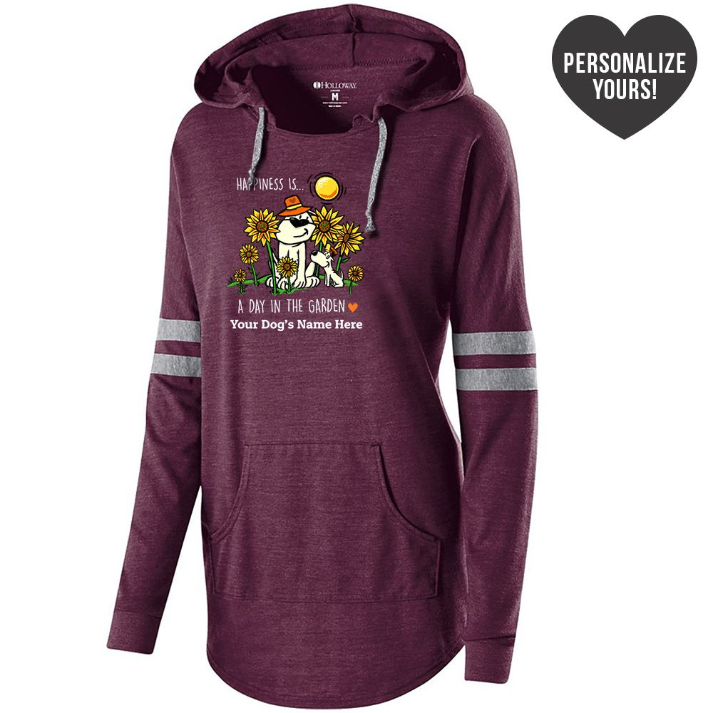 Happiness Is A Day In The Garden Personalized Vintage Maroon Varsity Slouchy Hoodie