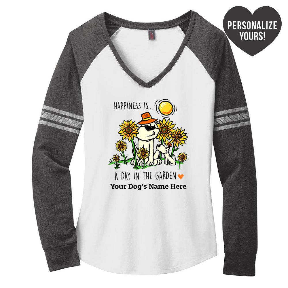 Happiness Is A Day In The Garden Personalized White & Grey Varsity V-Neck Long Sleeve 🐾  Deal 20% Off!