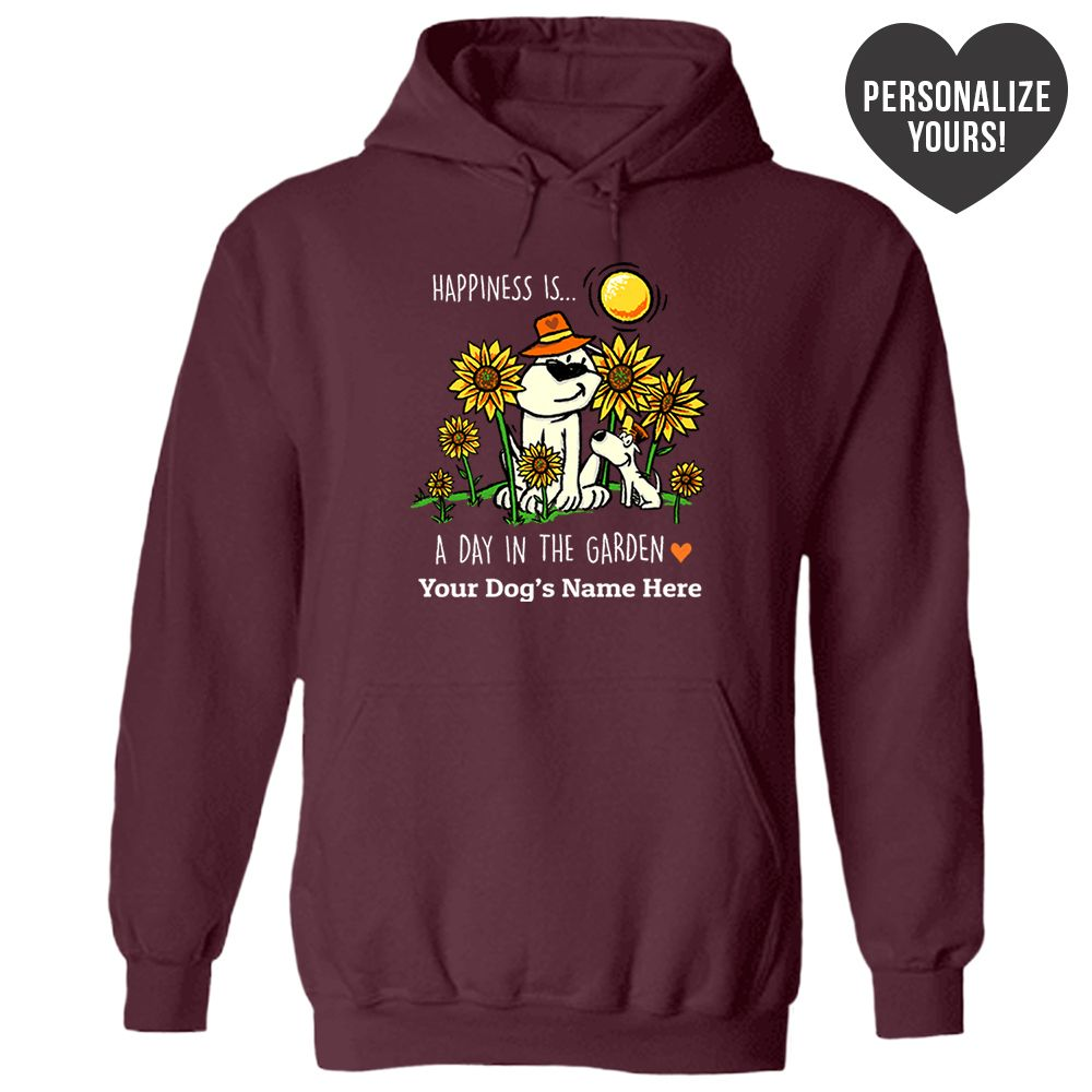 Happiness Is A Day In The Garden Personalized Maroon Pullover Hoodie 🐾 Deal Up To 25% Off!