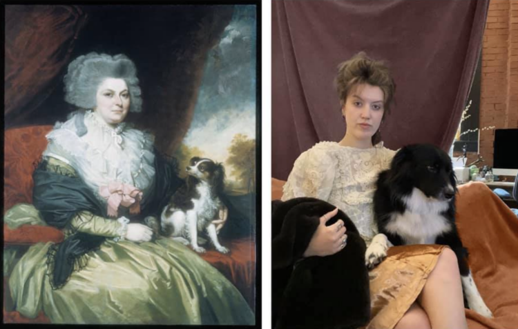 Lady with dog recreation