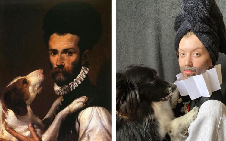 Recreated portrait of man with dog