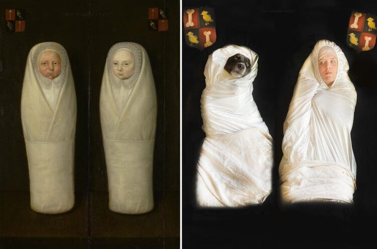 Portrait of Swaddled Twins recreated