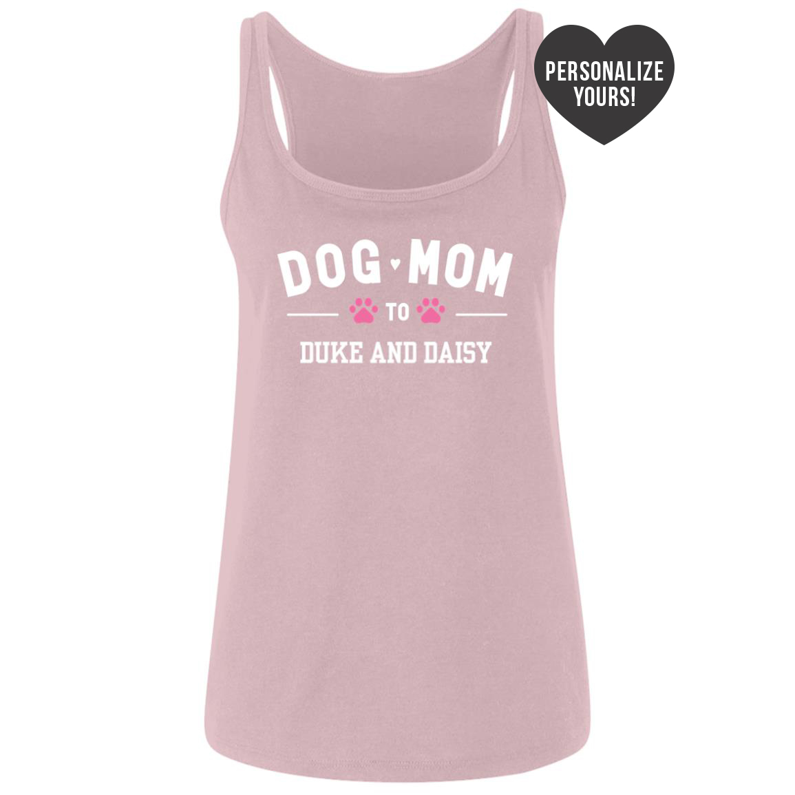 Dog Mom To My Fur Babies 💕 Personalized Relaxed Fit Tank- Pink