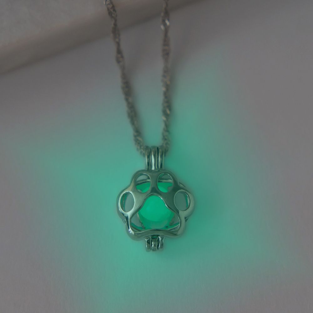 Magic Glow in the Dark Paw Necklace- Blue/Green