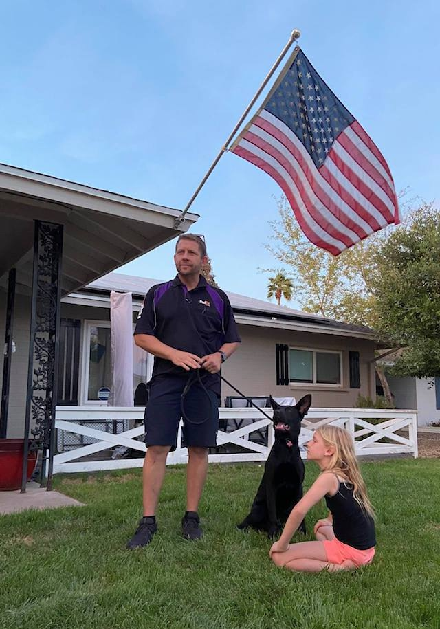 FedEx driver and dog