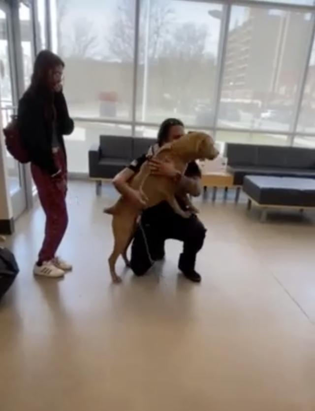 Man hugging lost dog