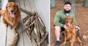 Bruce with sticks and his dad