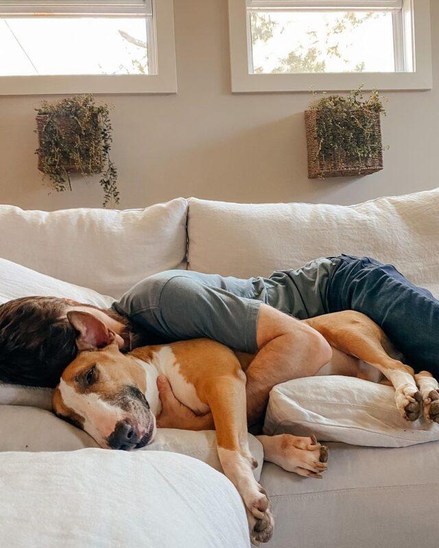 Man saying goodby to dog