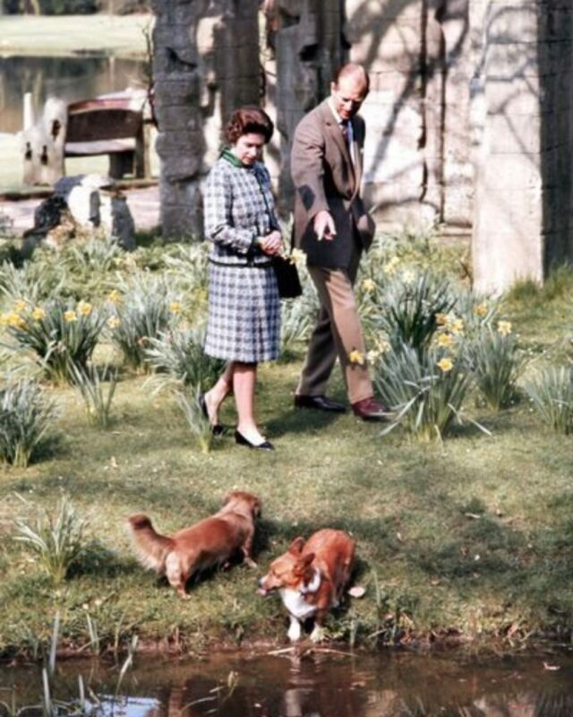 Queen and Prince Phillip walking