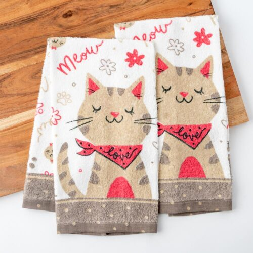 Meow Purr Love  💕 Kitty Kitchen Towels (Set of 2)
