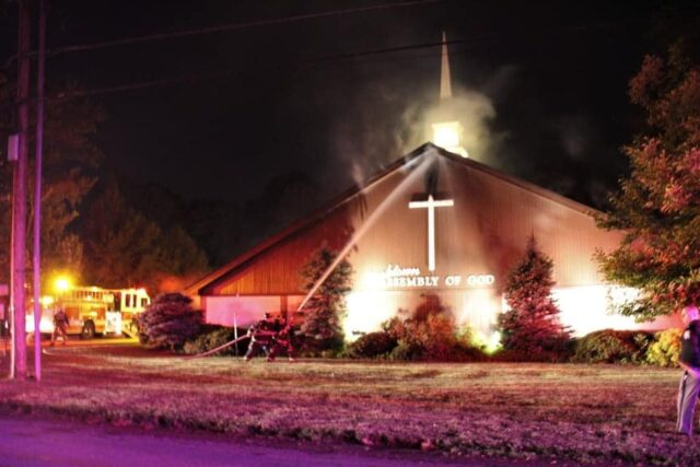 Putting out church fire